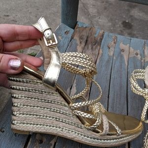 Michael Kors Gold Strappy Wedge Sandals Size 7.5